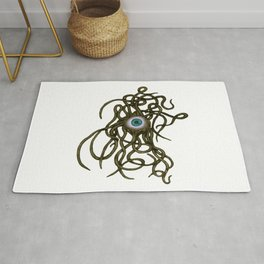 Evil Eye Halloween Creature Vector Gold Rug