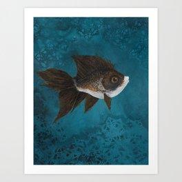 Gold brown fish Art Print