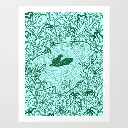 Capybara Jungle Art Print