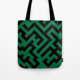 Black and Cadmium Green Diagonal Labyrinth Tote Bag