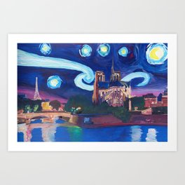 Starry Night in Paris - Van Gogh Inspirations with Eiffel Tower and Notre Dame Art Print