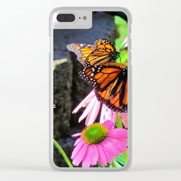 Butterflies And Pink Cornflowers Clear iPhone Case