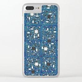 Blue tech Clear iPhone Case