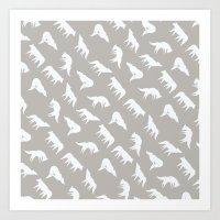 wild wolves pattern Art Print