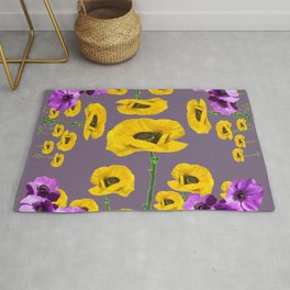 LILAC ANEMONES YELLOW POPPY FLOWERS ON GREY Rug