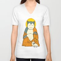 snorlax V-neck T-shirts featuring Snorlax by Yamilett Pimentel