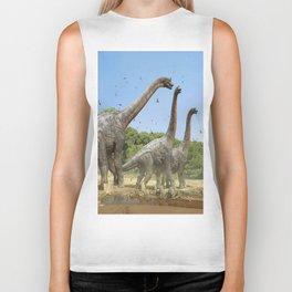 Dinosaurs walking on the river Biker Tank