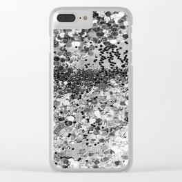Sparkly Silver Glitter Confetti Clear iPhone Case
