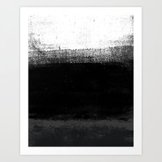 Ocean No. 2 - Minimal ocean abstract painting in black and white Art Print
