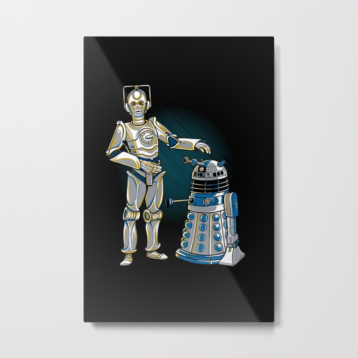 Cyber3PO and R2Dalek Metal Print