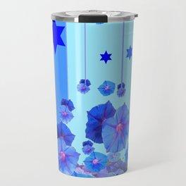 STARS & BLUE MORNING GLORIES RAIN POP ART Travel Mug