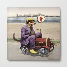 Barkin' Down the Highway! Metal Print