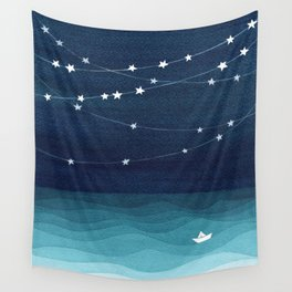 Garlands of stars, watercolor teal ocean Wall Tapestry