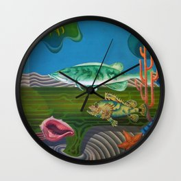 Mariana Trench Sea Bottom landscape with fish, seashells, and starfish by Hilaire Hiler Wall Clock