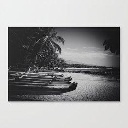 Sugar Beach Hawaiian Outrigger Canoes Kihei Maui Hawaii Canvas Print