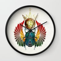 egyptian Wall Clocks featuring egyptian beetle by Manoou