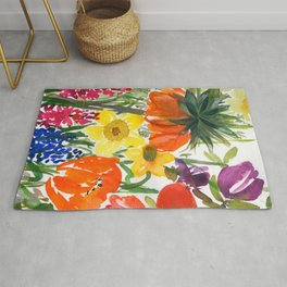 daffodils and hyacinths: watercolor painting Rug