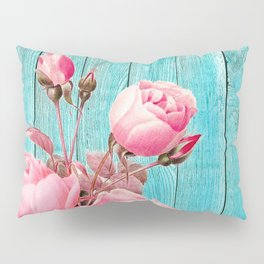 Pink Roses On Turquoise Blue Wood Pillow Sham