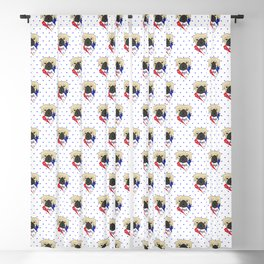 Patriotic American Pug Blackout Curtain