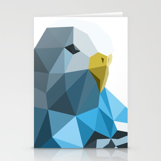 Geometric blue parakeet Stationery Cards