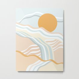 Retro Rainbow Summer Waves Metal Print