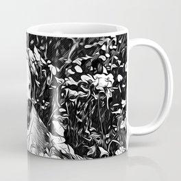 beagle dog flower field vector art black white Coffee Mug