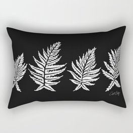 Inked Ferns – White Ink on Black Rectangular Pillow