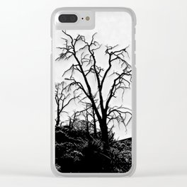 Spooky Dead Forest in Black and White Clear iPhone Case