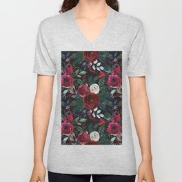 Pink red green watercolor boho floral pattern Unisex V-Neck