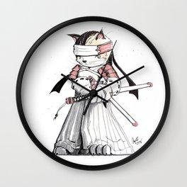 Samurai Japanese Bobtail Cat Wall Clock
