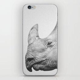 Rhino Art | Minimalism | Black and White | Animal Photography iPhone Skin