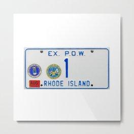 Rhode Island License Vanity Plate No. 1 Ex. POW - Ocean State photographic portrait Metal Print