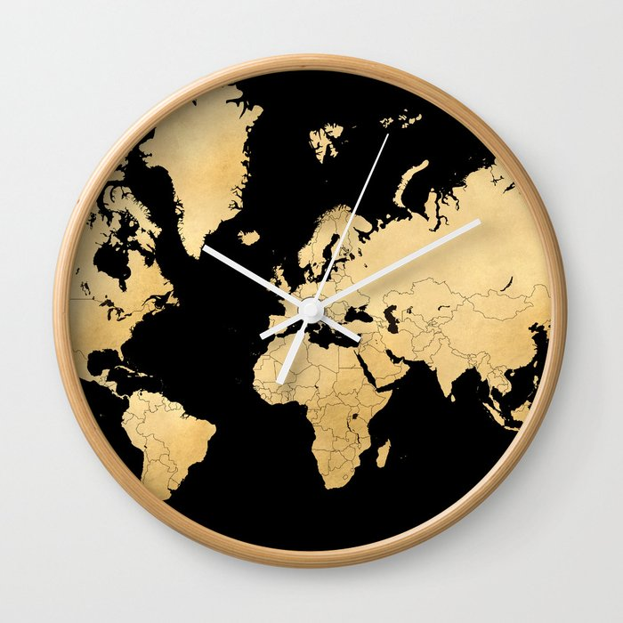 Sleek Black And Gold World Map Wall Clock By Blursbyaishop Society - Black and gold world map