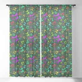 Pattern of cheerful children's shimmering stars on a green background. Sheer Curtain