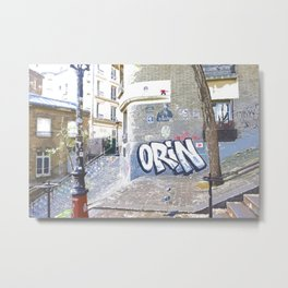 French taste of alleys and graffiti streets in Paris Metal Print