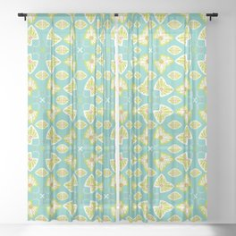 Pretty stylized floral pattern Sheer Curtain