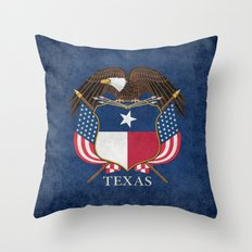 Texas flag and eagle crest, Vintage original design by BruceStanfieldArtist Throw Pillow