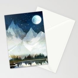 Mountain Lake Under the Starlight Stationery Cards