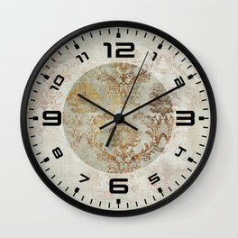 Aged Damask Texture 3 Wall Clock