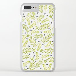 Watercolor Olive Branches Pattern Clear iPhone Case