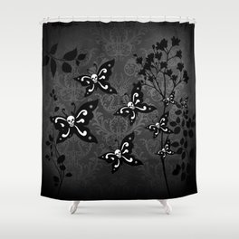 Skullerflies in the garden - dark scale Shower Curtain