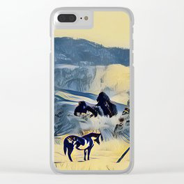 Indian Pony Yellow Winter by CheyAnne Sexton Clear iPhone Case