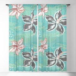 Black Hibiscus Jungle Print Sheer Curtain