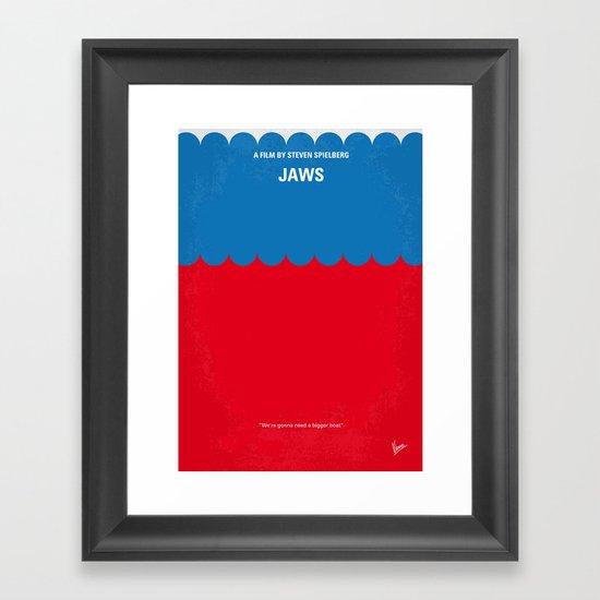 No046 My Jaws minimal movie poster Framed Art Print