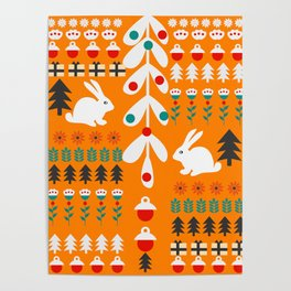Sweet Christmas bunnies Poster