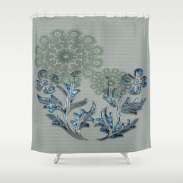Vintage Flower Jeweled Green & Blue (simulated) | Saletta Home Decor Shower Curtain