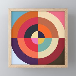 Autumn - Colorful Classic Abstract Minimal Retro 70s Style Graphic Design Framed Mini Art Print