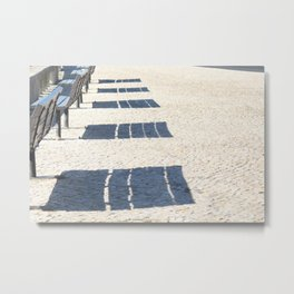 Shadows of empty benches Metal Print
