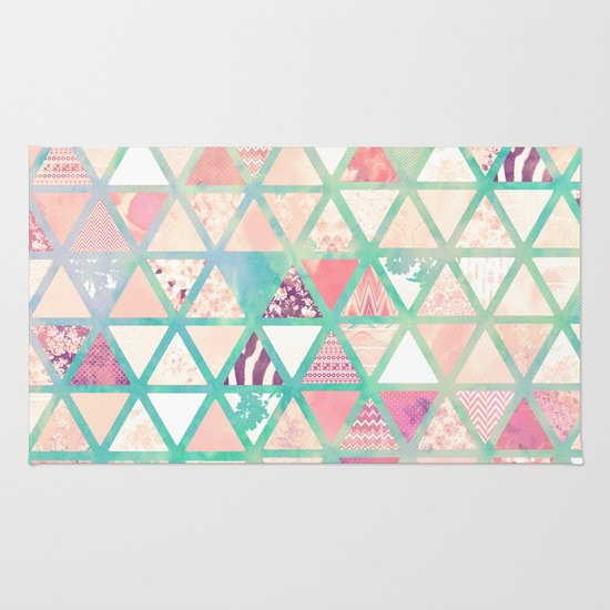 Pink Turquoise Girly Chic Floral Paisley Pattern Rug By: Pink Turquoise Abstract Floral Triangles Patchwork Rug By