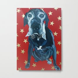 Starry Leonard the Black Lab Dog Portrait Metal Print